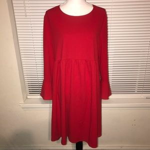 Coming Soon Maternity Red Dress Flare Sleeve XL